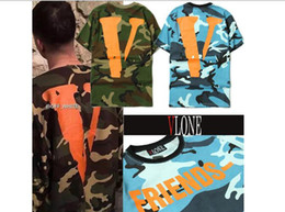 Wholesale Sponge mice High Quality Mens Camo Vlone Friends T Shirt Cotton Camouflage Hip Hop Big V Letter Vlone men T Shirts