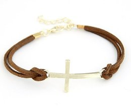 Wholesale Croix Bracelets Pour Femmes Hommes Mode Bracelets Bracelets Corde Cuir Masculina Bijoux Vintage Pulseira Pulsera Mujer
