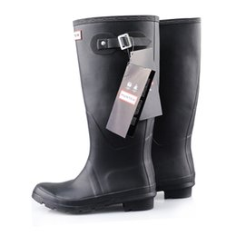 Wholesale Long Black Shoes For Men - New arrival Long Boots Boots For women Rubber Wellies waterproof Low heel with Buckle Strap solid color Rain boots men shoes DHL free