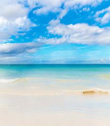 2017 fondos de verano Fotografía de playa telón de fondo para la boda de verano Nubes blancas Cielo azul escénica Studio Photo Booth Antecedentes 5x7ft descuento fondos de verano