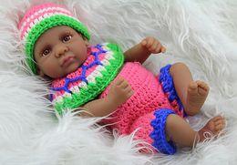 28cm Realistic Reborn Black Baby Doll Soft Silicone Vinyl Newborn Baby Kids Birthday Present Gift Toy