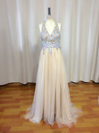 Latest Style New Halter Prom Dresses Sleeveless Beaded Sequined Rhinestone Crystal Ruffles Floor Length Tulle Empire Backless Formal Gowns