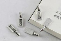 200PCS Tibetan Silver glue on bail rectangle charms 26X8mm A12361