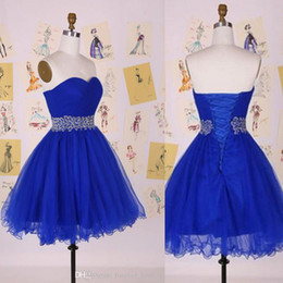 Royal Blue Sweetheart Sleeveless Prom Evening Gowns Tulle Cocktail Girls Party Dresses Short Dress Lace-up With Sequins Crystals Waist