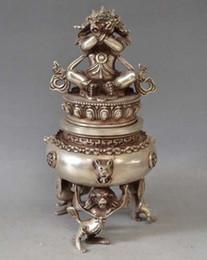 Tibet Tibetan Silver Bronze Mahakala Buddha Incense Burner Censer