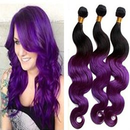 cheap Two Tone Purple Ombre Weave Brazilian Virgin Body Wave Black and Purple Human Hair Extensions Ombre Remy Weft 3 bundle deals freeship