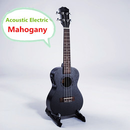 2017 guitar black strings acoustic Ukulele Acoustique Electrique En Gros-Concert 23 Inch Guitare 4 Cordes Ukelele Guitarra Handcraft Bois En Acajou Noir Plug-in Uke bon marché guitar black strings acoustic