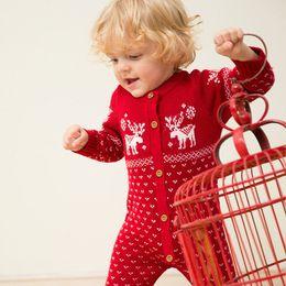 Wholesale Newborn Baby Romper O neck Long Sleeve Christmas Sweaters Hats Coat Deer Animal Santa Red Navy Unisex Cotton