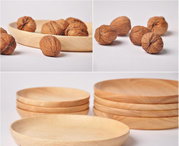 Wholesale Home Garden Kitchen Dining Bar Tableware Thai Rubber Wood Hand Made Wooden Plate Fruit Dessert Snack Candy Tray Dishes