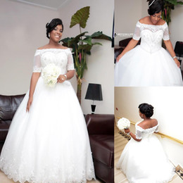 Plus Size 2019 Crystal Appliqued African Wedding Dresses Short Sleeves Beading Pearls Lace Bridal Gowns Corset Back Wedding Brides Dress