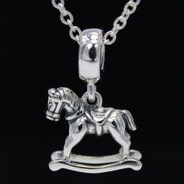 ROCKING HORSE PENDANT CHARM DIY Beads Real Solid 925 Sterling Silver Not Plated Fits Original Pandora Bracelets & Bangles & Necklaces