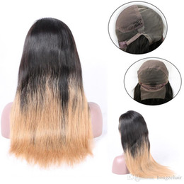 Top Quality Silky Straight Ombre Color T1B 613 Remy Brazilian Hair Full Lace Human Hair Wigs for Black Women Half Hand Tied 6-24''