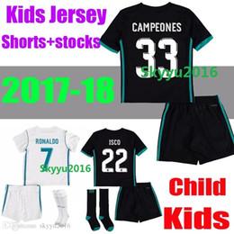 Kids 2017 2018 Real Madrid home Away soccer jersey 17 18 child youth ISCO RONALDO ROMOS MODRIC BALE Arsenio Football shirt Kit +stocks