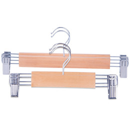Wholesale Sale Original Solid Wood Hangers with Clips Adjustable Wooden Hanger Racks for Pets Babies Kids Children Adults Pants Skirts Trousers cm