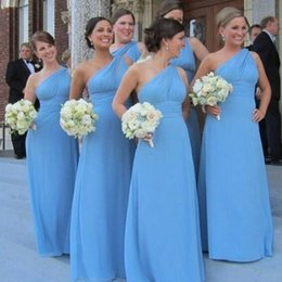 Sexy Sheath Backless Chiffon Bridesmaids Dresses One Shoulder Floor Length Mother of Bride Dresses Evening Dresses Prom Holiday Gowns
