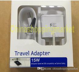 Cargos cables iphone en venta-Carga rápida 2 en 1 cargador de carga rápido adaptable 15W de la pared del recorrido 15W + cable micro del Usb 1.5M para la nota 4 5 del borde de Samsung S6 S7 con venta al por menor