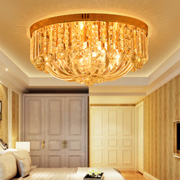 LED Modern Crystal Ceiling Lamps Gold American Crystal Ceiling Lights Fixture Home Indoor Chandelier Lighting 110V 220V D50cm*H26cm