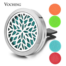 Wholesale Perfume Locket Car Aromatherapy Diffuser Vent Clip L Stainless Steel Pendant Magnetic Flower without Felt Pads VA