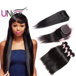 UNice Hair Virgin Straight 3 Bundles With Closure Free Part Peruvian Straight Mix Length Human Hair Extensions Remy Hair Wefts