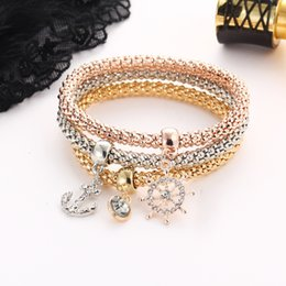 Silver Gold Rose Gold Three Colors 3 in 1 Set Bracelet With Little Anchors Pattern Pendent For Women And Girls By Hcish Jewelry BJHS240