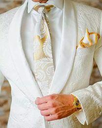 Wholesale 2017 Trajes blancos de la boda de la arenque de las lanas de los smokinges de Paisley para los hombres Traje para requisitos particulares de encargo del juego del Mens del estilo británico Blazer Suit Pant