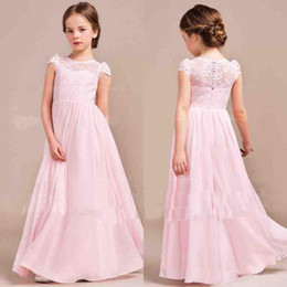 Wholesale Cheap Pink Lace Chiffon Flower Girls Dresses For Wedding Jewel Neck Floor Length Boho Garden Beach Style First Communion Dresses Under