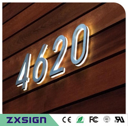 5 inches high Outdoor 304# stainless steel back lit led house number, illuminated stainless steel home number, light up doorplate