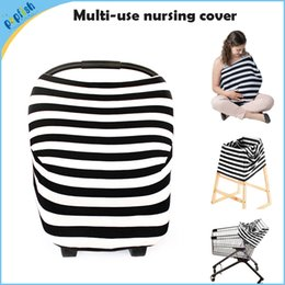 Wholesale 5pcs Azo free multi function knitting stripe fabric nursing cover in uses car seat cover for baby