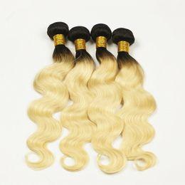 Ombre Peruvian Hair Weave T1b 613 Couronne Ondulée Ongle Vierge Remy Cheveux Humains Trame Extensions Deux Tonalités 4 Paquets 10-30 Pouces cheap 12 inch human hair two tone à partir de 12 pouces cheveux humains deux tons fournisseurs