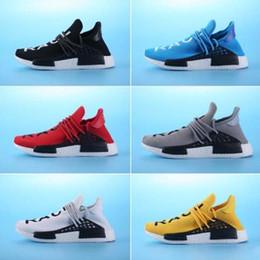 Wholesale 2017 caliente NMD HUMANO RACE amarillo Pharrell Williams Hu Boost zapatos la mejor calidad de la respirabilidad de los hombres NMD Runner Zapatillas Zapatos al aire libre de moda
