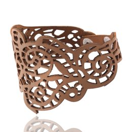 Newest Punk style Faux Leather Bracelet With Fashion Individual Hollow Pattern High Quality Delicate Handmade Jewelry