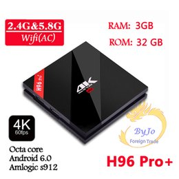 Wholesale H96 Pro G DDR3 option G Flash G GHz Wifi HD2 K Amlogic S912 Octa Core Android BT4 KODI smart android tv box