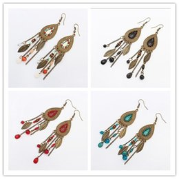 Wholesale Retro Bohemian Oval Leaf Mulit Colors Tassel Earrings European USA Fashion Beads Earrings