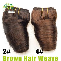 Wholesale 4 Light Brown cheveux Weave brun foncé Malaysian Loose Wave pièces Tredy Bobo Weave pouces cheveux humains Bundle g Malaysian Virgin cheveux