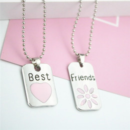 Fashion Jewelry Best Friends Pendant Necklaces Pink Heart Silver Plated Friendship Long Necklaces 2pc Set Gift