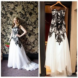Wholesale 2017 New Arrival Black And White Lace Wedding Dresses Appliques Adjustable Lace Up Back Plus Size Sweep Train Bridal Gowns Sexy Backless