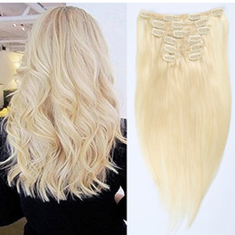 100% Brazilian Remy Clip in Human Hair Extensions 7pcs Set 16clips #613 Blonde Hair Extensions Crochet Straight Can be Permed Free Shipping