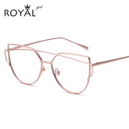 Or gros cadres lunettes à vendre-Grossiste- ROYAL GIRL Femmes Cat Lunettes Lunettes de vue Twin-Beams Femmes Lunettes Optiques Lunettes d'Or Frames SS059