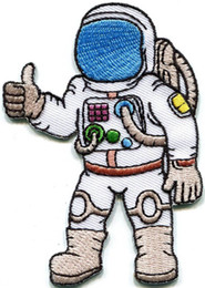 Hot sale custom embroidery design Astronaut cosmonaut spaceman retro embroidered applique iron on patch new style free shipping