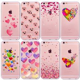 Caso del corazón del amor del rosa de la mariposa de la acuarela para el iphone 6 6s 7 5 5s se 7Plus Cubierta protectora de los casos del silicón transparente 6Plus 4 4S desde casos del corazón iphone 4s proveedores