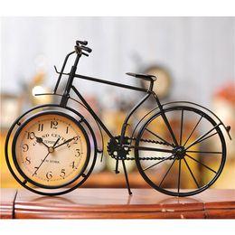 Wholesale Iron bicycle desktop clock cinnamon and black color mute home decoration vintage table clock horloge frozen reloj