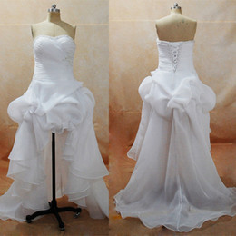 2017 Summer Beach Wedding Dresses Plus Size Sweetheart Hi-Lo Little White Dresses with Organza Satin Skirt Bridal Gowns Real Images