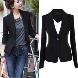 Chaqueta de la chaqueta de la chaqueta de la chaqueta de la chaqueta de la nueva manera S-3XL Chaqueta negra ocasional de la capa Chaqueta del botón Mujer Blaser Mujer Femenino desde solo botón abrigos negros fabricantes