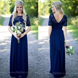 Under $70 Country Style Navy Blue Bridesmaid Dresses Sheer Crew Neck Lace Top Short Sleeves Chiffon Backless Long Maid of the Honor Dresses