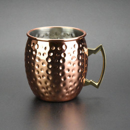 Wholesale Moscow Mule Mug Travel Coffee Mug Handmade Pure Copper Hammered Moscow Mule Cup Set of Mugs New moscow mule mug set