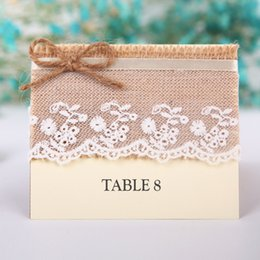 Wholesale Retro Table Name Place Cards Linen Lace Wedding Party Favor DecorBirthday Party Gifts Centerpieces Accessories Baby Shower