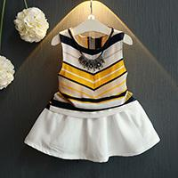 Princess Qi than the 17 girls summer new Korean fashion chiffon striped vest skirt suit