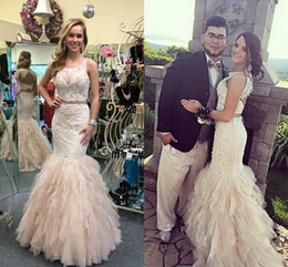 Elegant Two Piece Mermaid Prom Dresses Sheer Neck Appliques Lace Tulle Open Back Red Champagne Fashion Saudi Arabic Evening Gowns