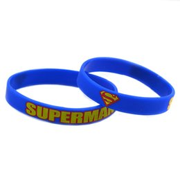 Wholesale Shipping 100PCS Lot Printed Superman Silicon Wristband Bracelet, Perfect To Use In Any Benefits Gift For Gamer