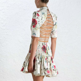 Luxury Women Elegant Summer Top Fashion Flower Printed Beading Sexy Backless Slim Dress High Quality Runway Party Dresses